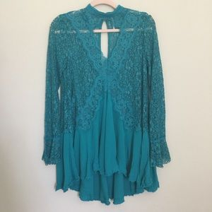 NWOT Free People Secret Orgins Pieced Lace Tunic